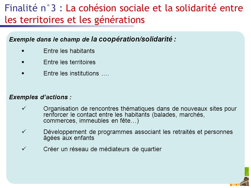 Finalité n°3 : La cohésion sociale et la solidarité entre les territoires et les générations