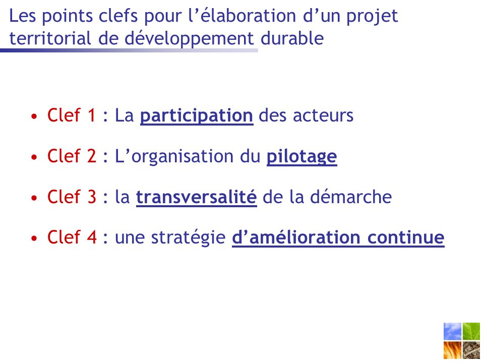Les points clefs pour l'élaboration d'un projet territorial de développement durable