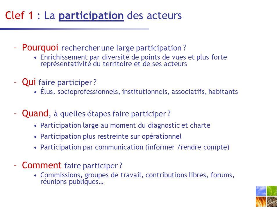 Clef 1 : La participation des acteurs