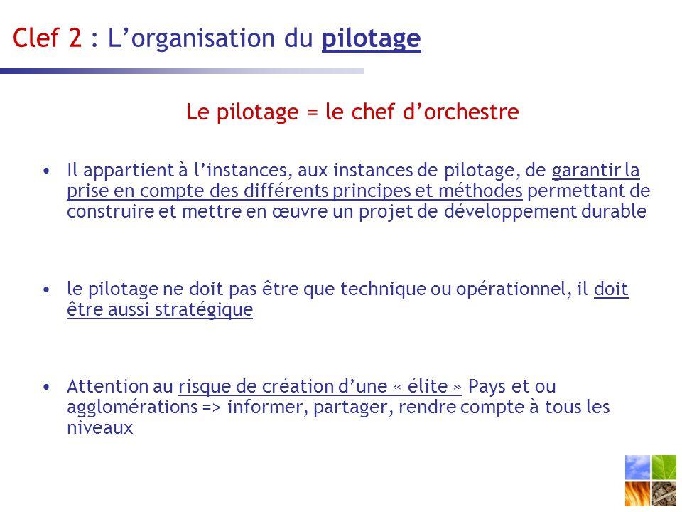 Clef 2 : L'organisation du pilotage
