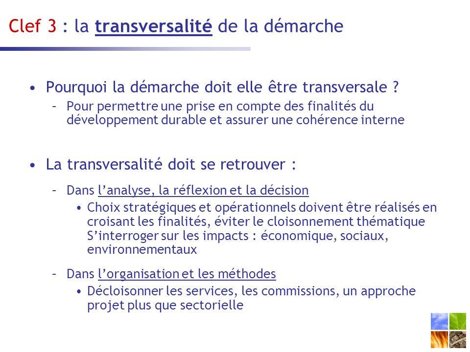 Clef 3 : la transversalité de la démarche
