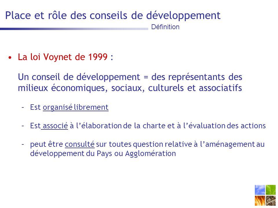 Place et rôle des conseils de développement