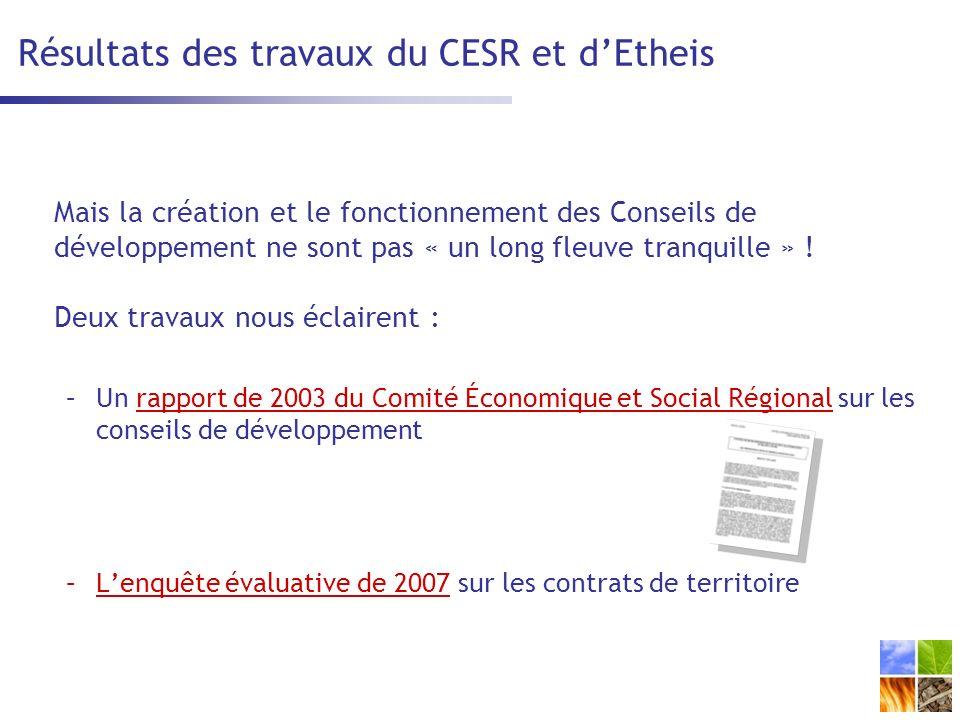 Résultats des travaux du CESR et d'Etheis