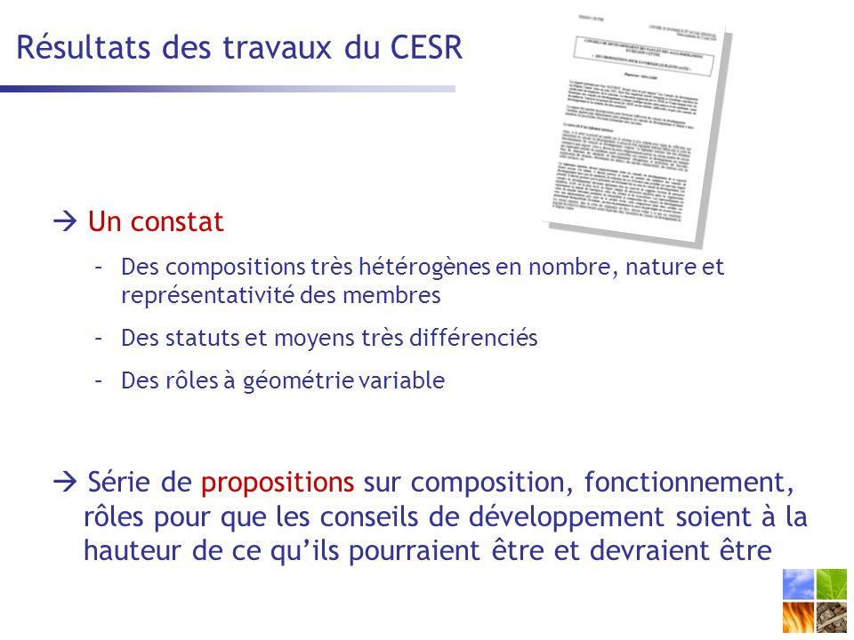 Résultats des travaux du CESR