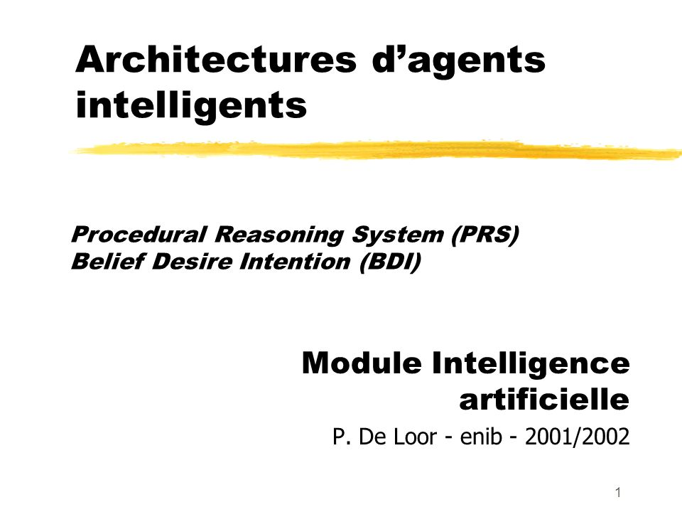 Architectures d'agents intelligents