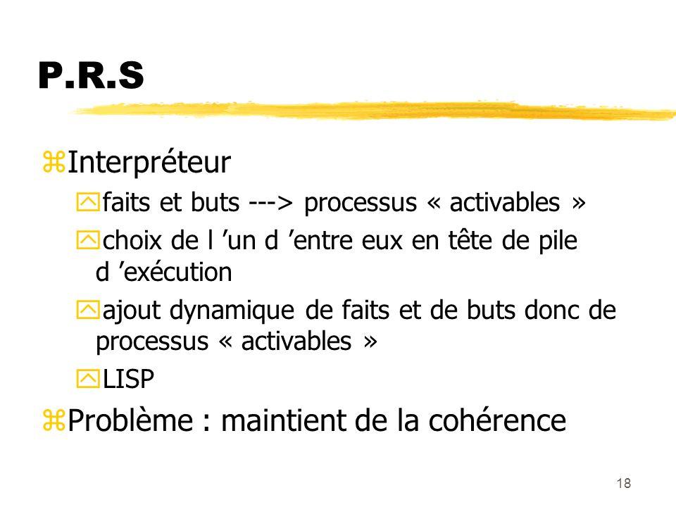 P.R.S Interpréteur Problème : maintient de la cohérence