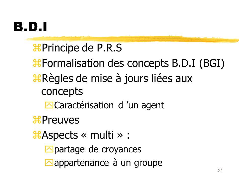B.D.I Principe de P.R.S Formalisation des concepts B.D.I (BGI)