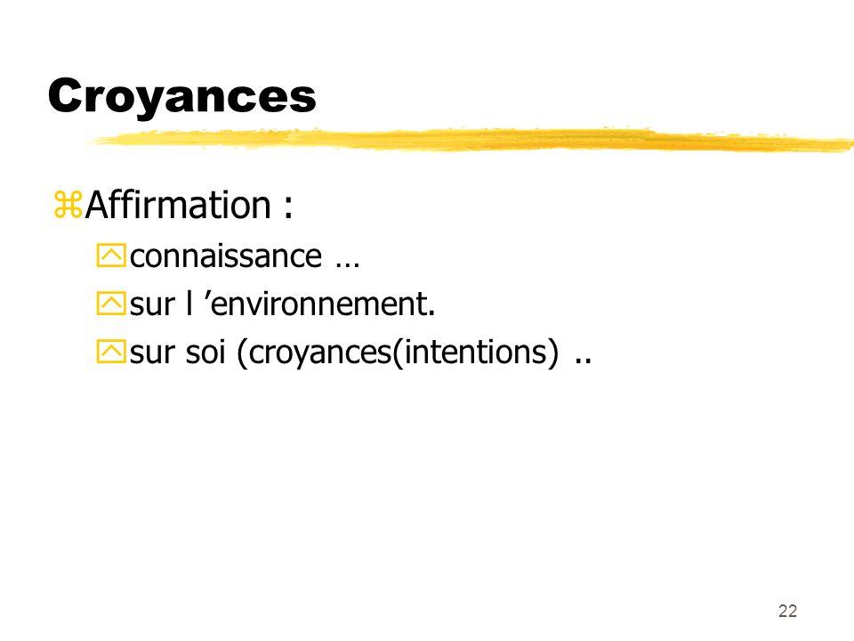 Croyances Affirmation : connaissance … sur l 'environnement.