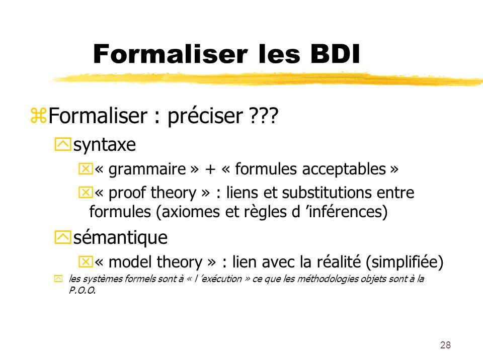 Formaliser les BDI Formaliser : préciser syntaxe sémantique