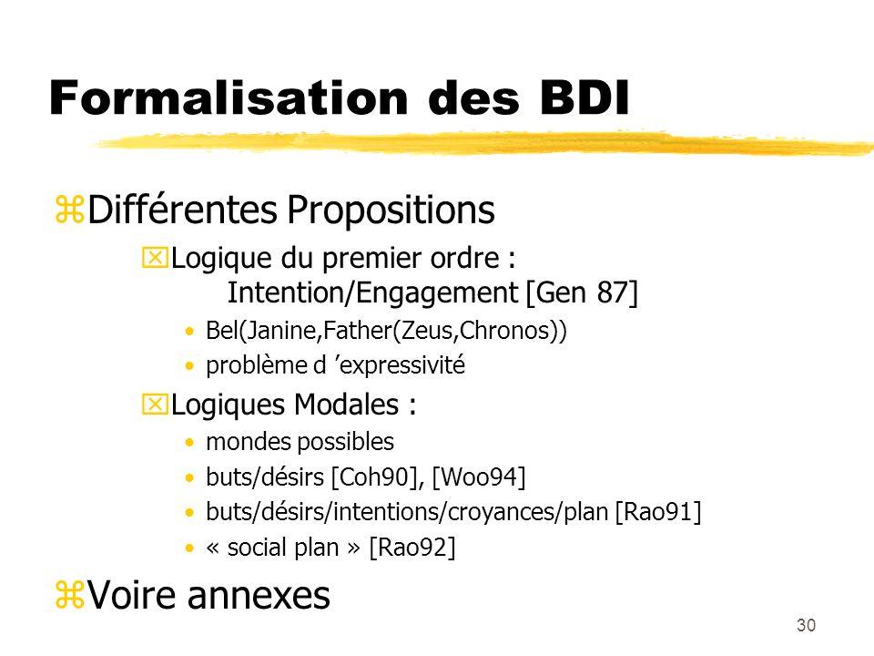 Formalisation des BDI Différentes Propositions Voire annexes