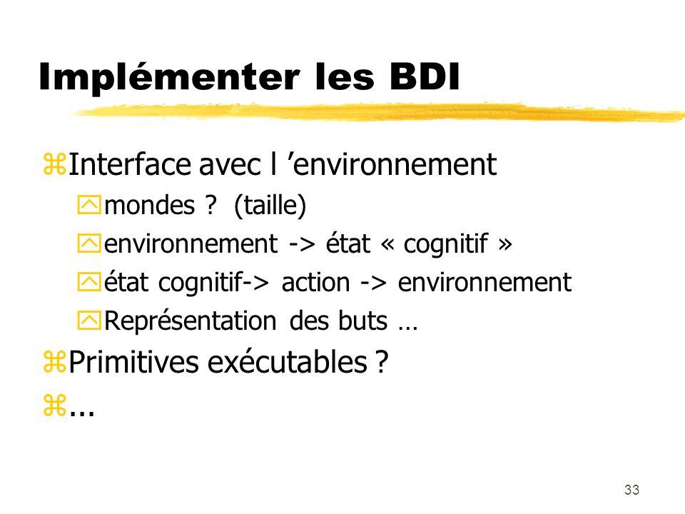 Implémenter les BDI Interface avec l 'environnement