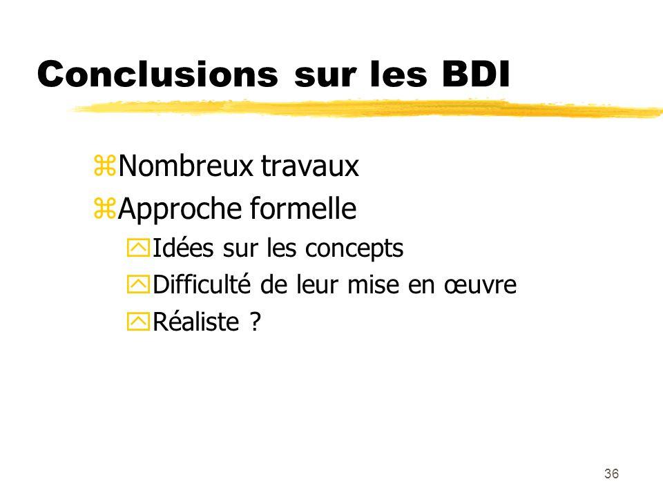 Conclusions sur les BDI