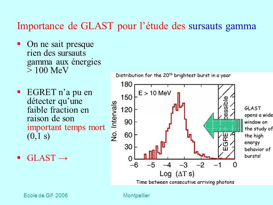 Importance de GLAST pour l'étude des sursauts gamma