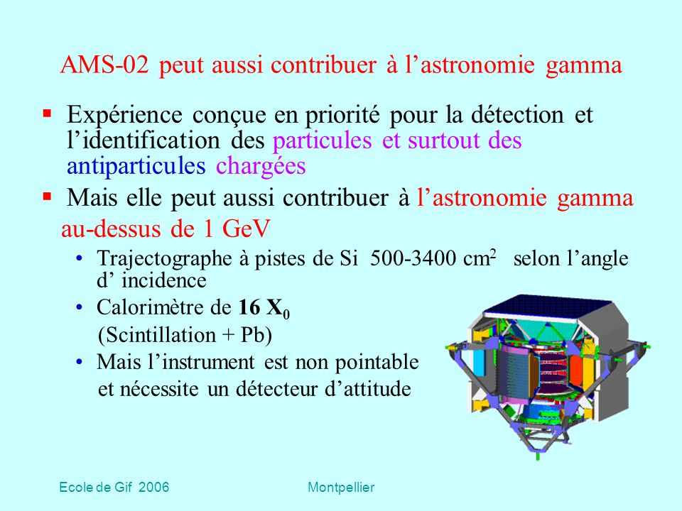 AMS-02 peut aussi contribuer à l'astronomie gamma