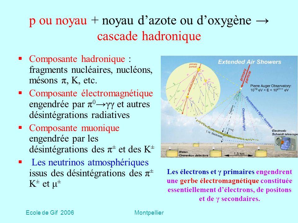 p ou noyau + noyau d'azote ou d'oxygène → cascade hadronique