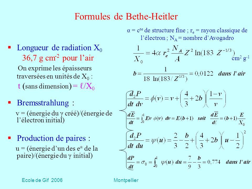 Formules de Bethe-Heitler