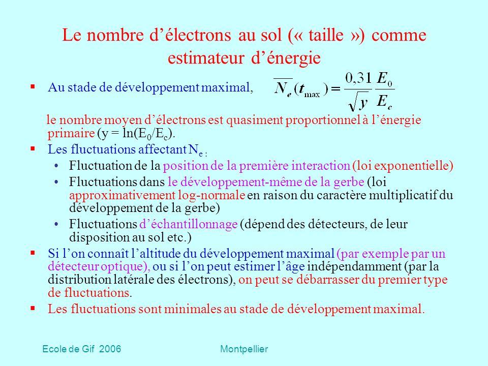 Le nombre d'électrons au sol (« taille ») comme estimateur d'énergie