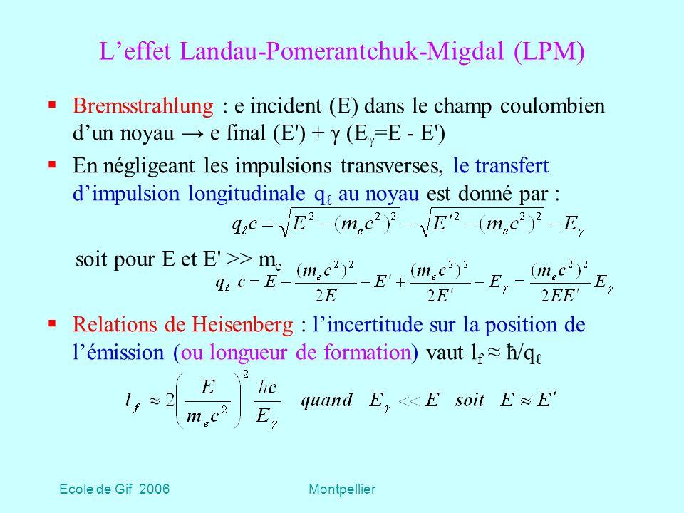 L'effet Landau-Pomerantchuk-Migdal (LPM)