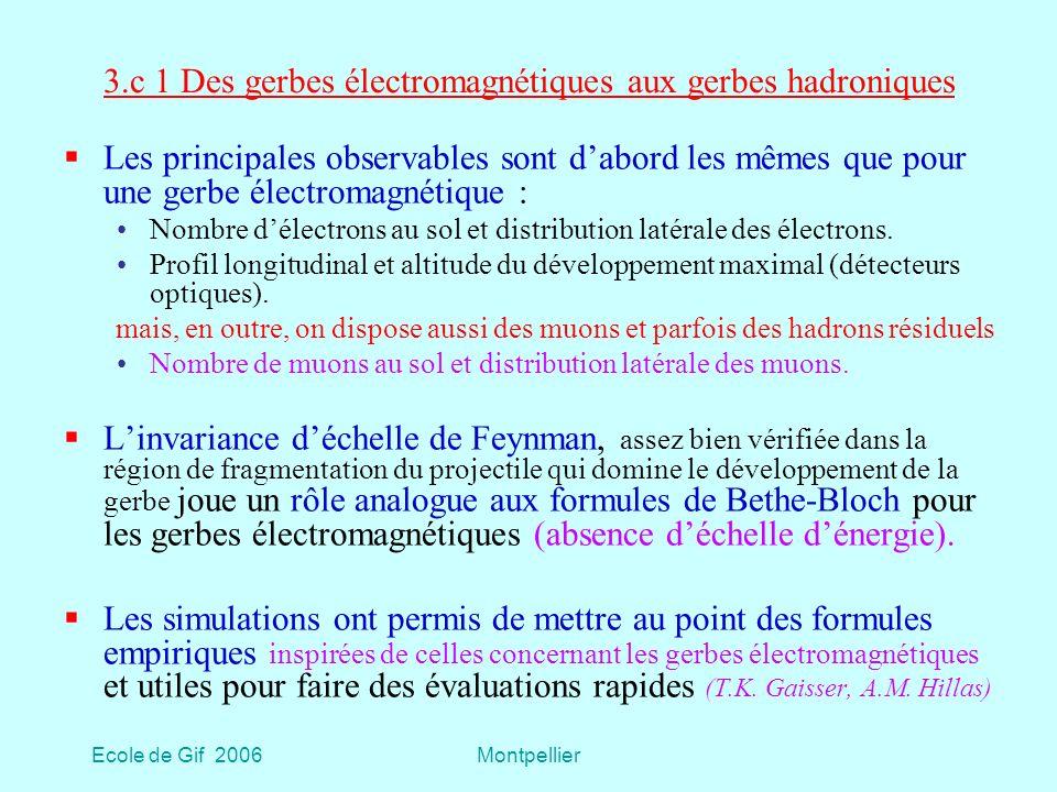 3.c 1 Des gerbes électromagnétiques aux gerbes hadroniques