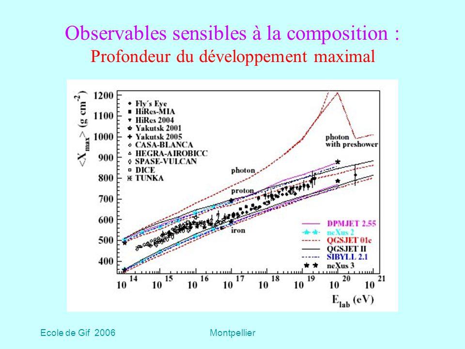 Observables sensibles à la composition : Profondeur du développement maximal