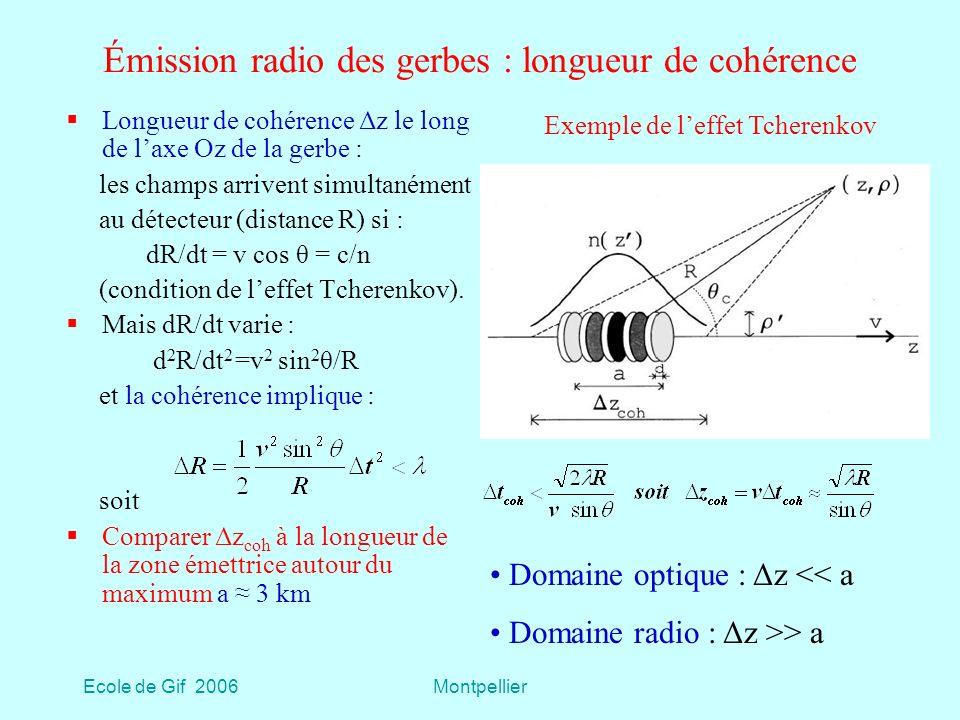 Émission radio des gerbes : longueur de cohérence