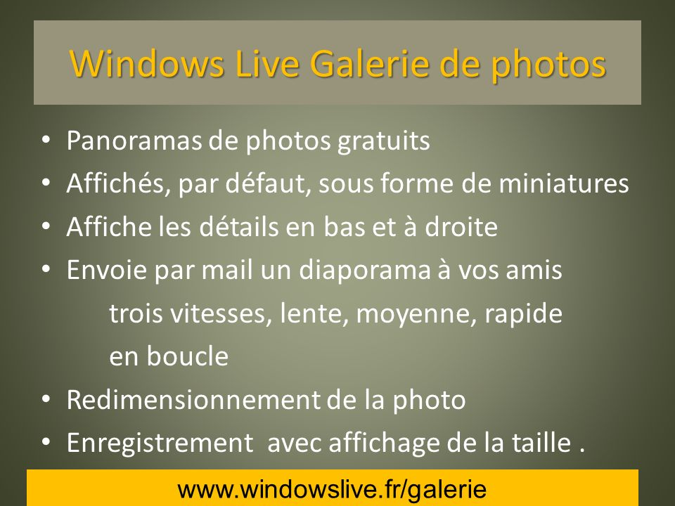 Windows Live Galerie de photos