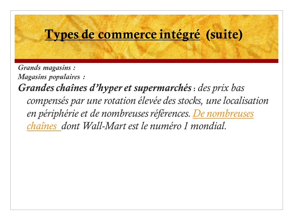 Types de commerce intégré (suite)