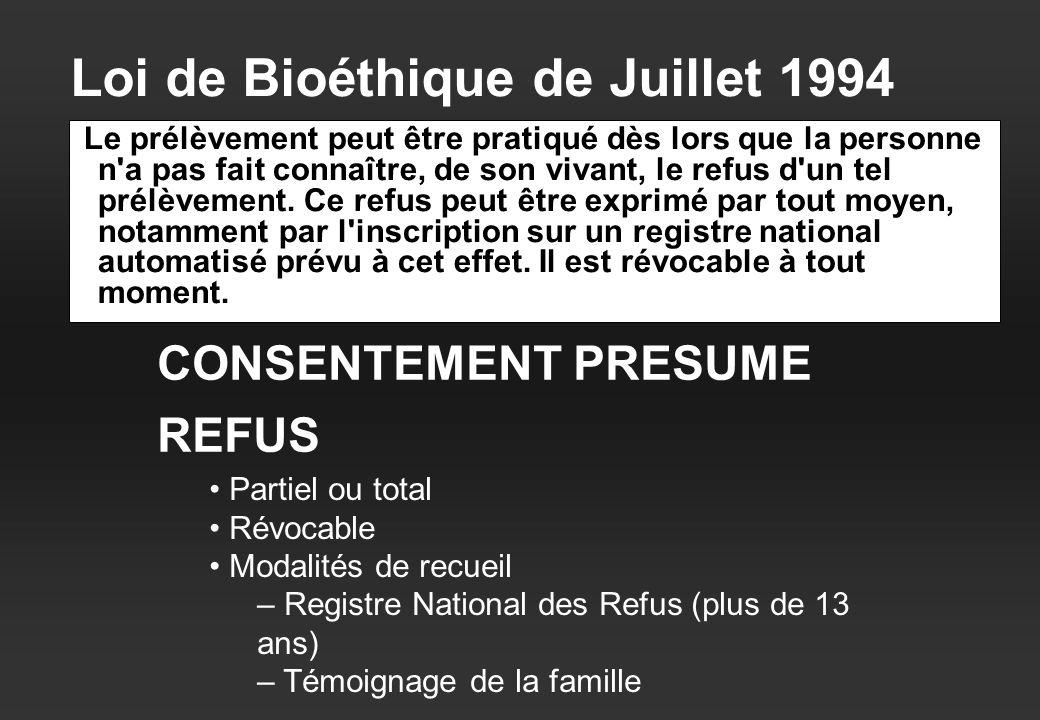 Loi de Bioéthique de Juillet 1994