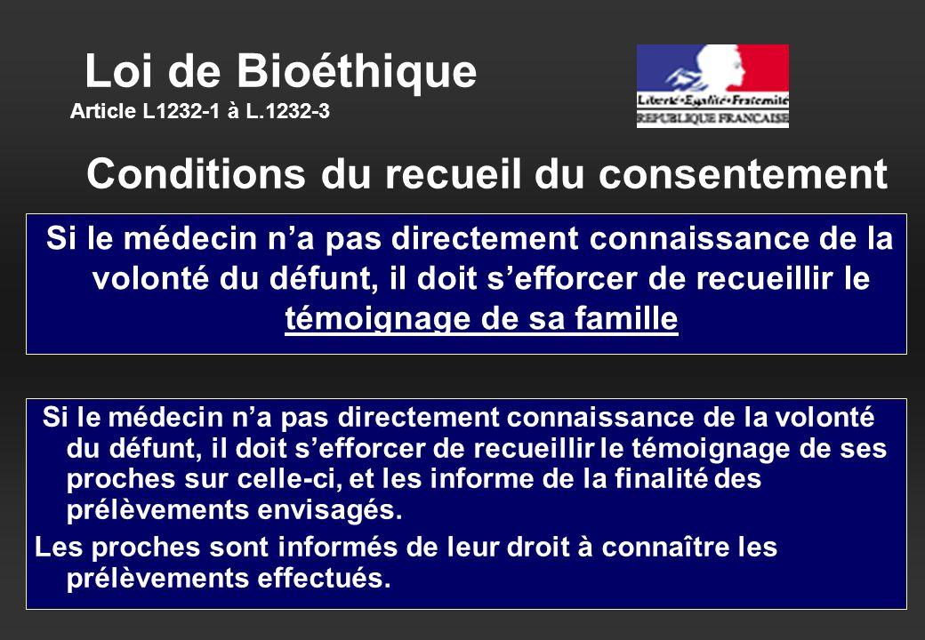 Loi de Bioéthique Article L1232-1 à L.1232-3