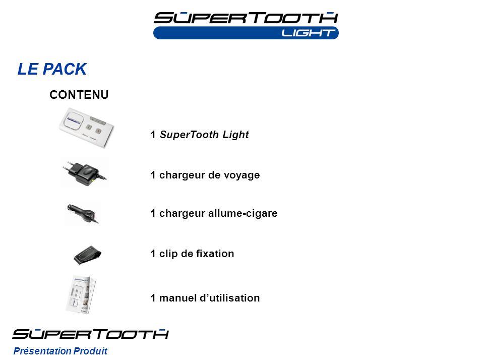 LE PACK CONTENU 1 SuperTooth Light 1 chargeur de voyage