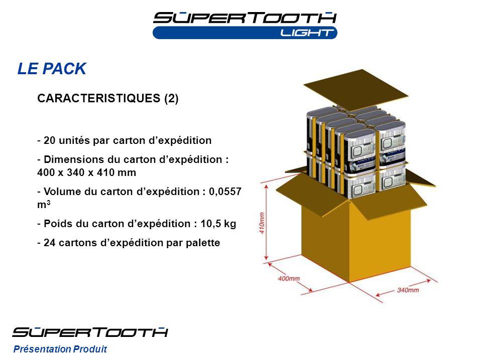 LE PACK CARACTERISTIQUES (2) 20 unités par carton d'expédition