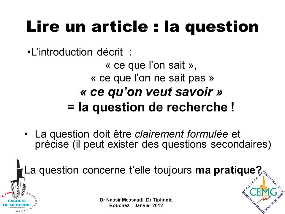Lire un article : la question