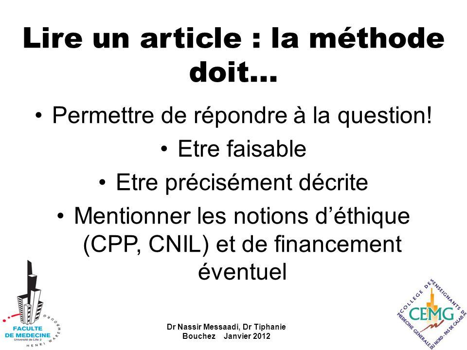 Lire un article : la méthode doit...