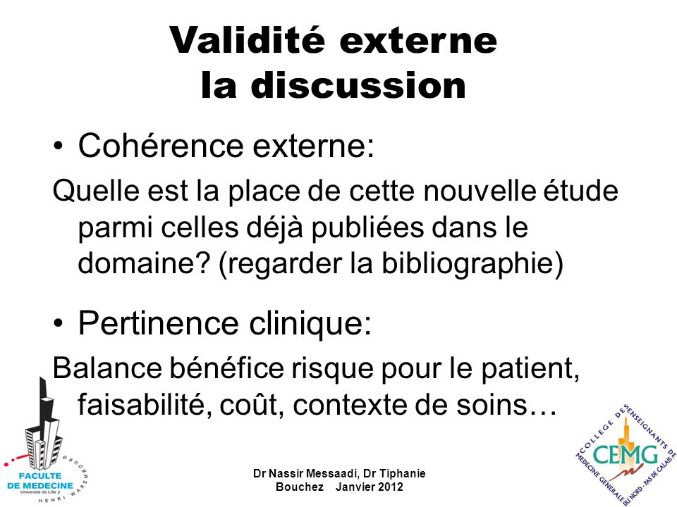 Validité externe la discussion