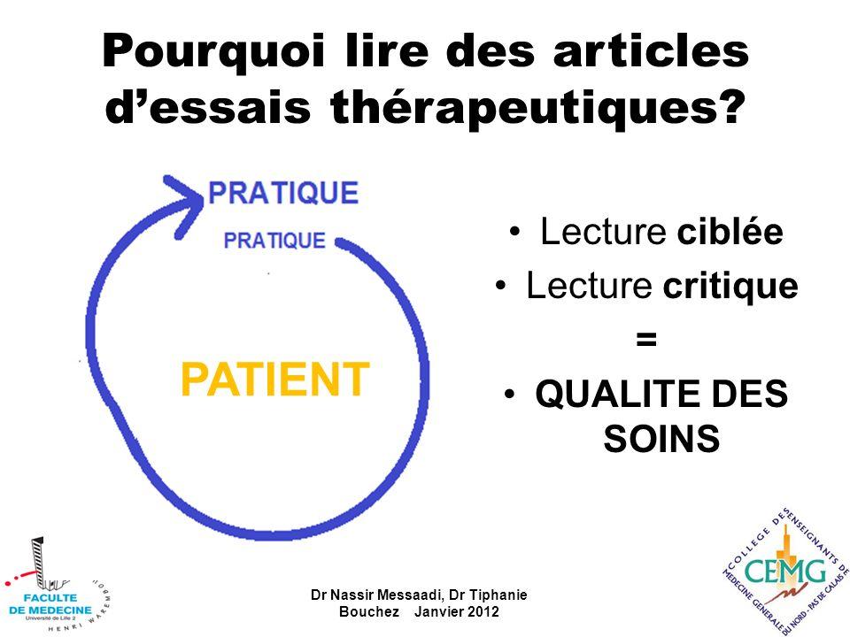 Pourquoi lire des articles d'essais thérapeutiques