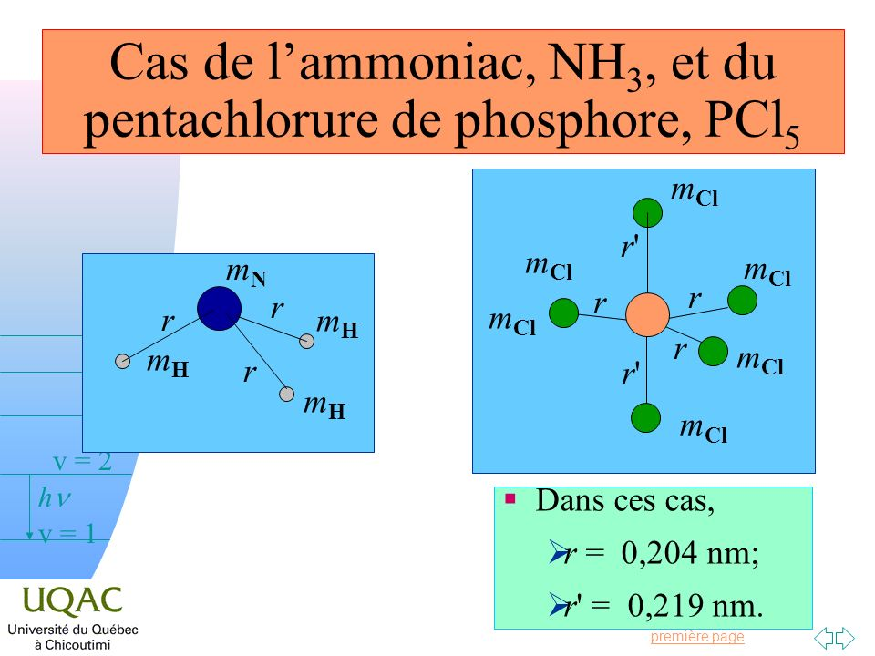 Cas de l'ammoniac, NH3, et du pentachlorure de phosphore, PCl5