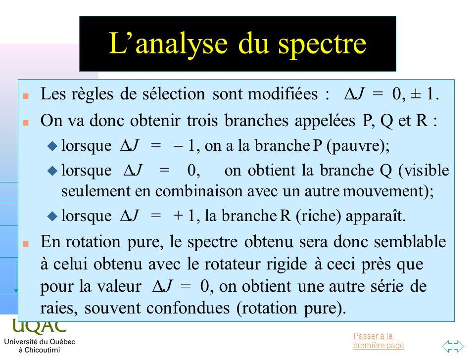L'analyse du spectre Les règles de sélection sont modifiées : DJ = 0, ± 1. On va donc obtenir trois branches appelées P, Q et R :