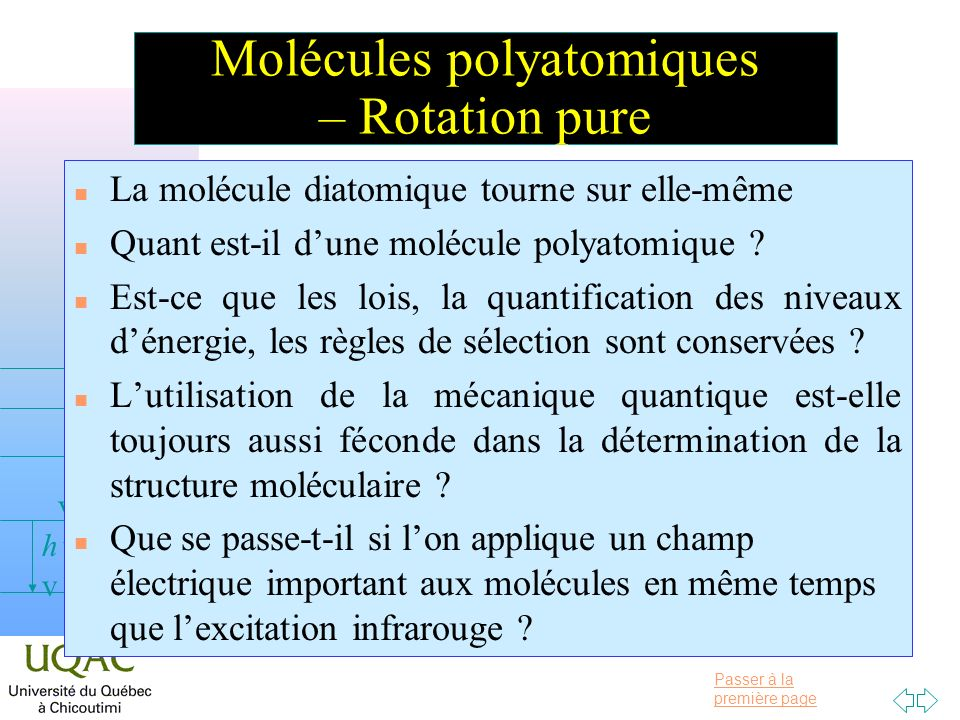 Molécules polyatomiques – Rotation pure