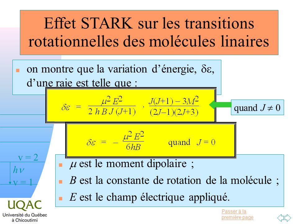 Effet STARK sur les transitions rotationnelles des molécules linaires