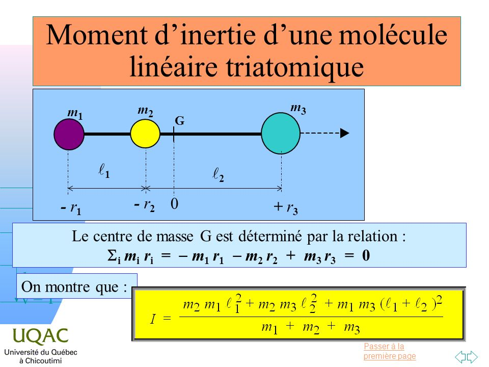 Moment d'inertie d'une molécule linéaire triatomique