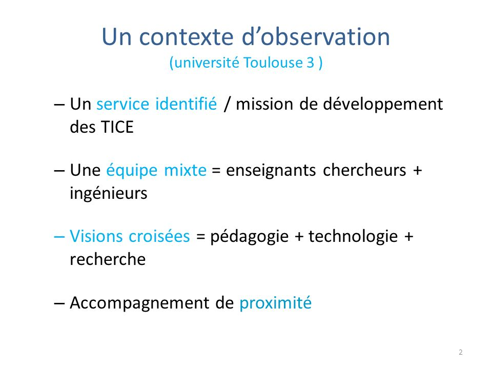 Un contexte d'observation (université Toulouse 3 )