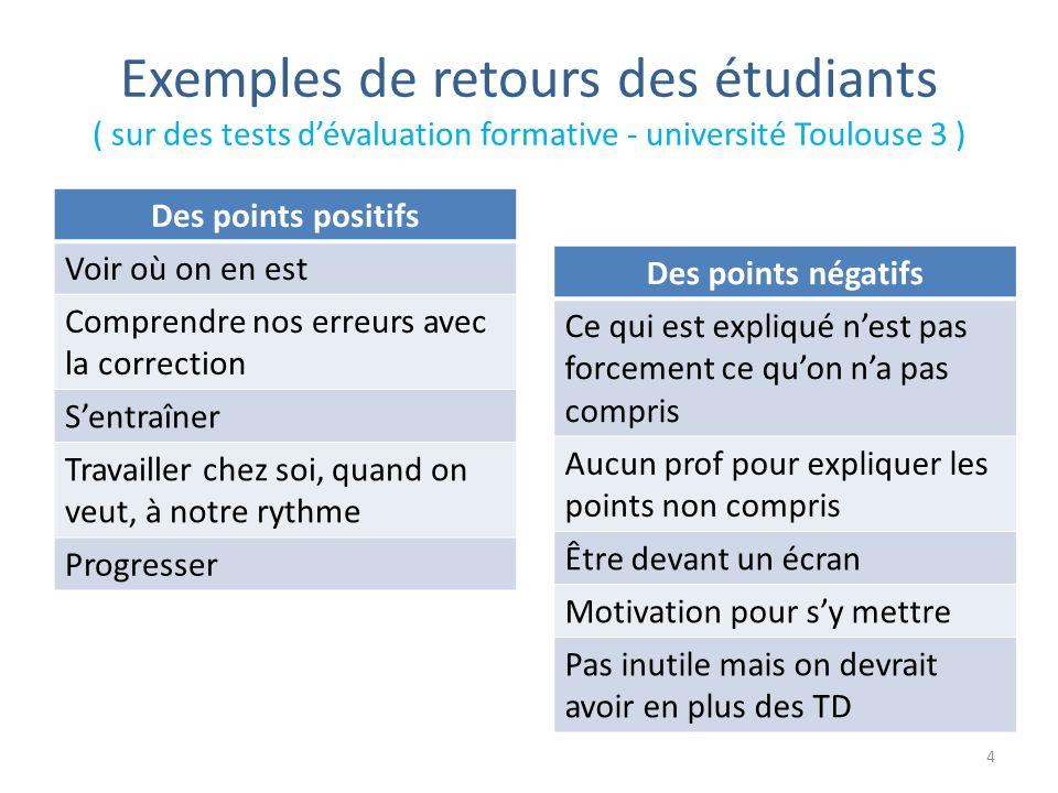 Exemples de retours des étudiants ( sur des tests d'évaluation formative - université Toulouse 3 )