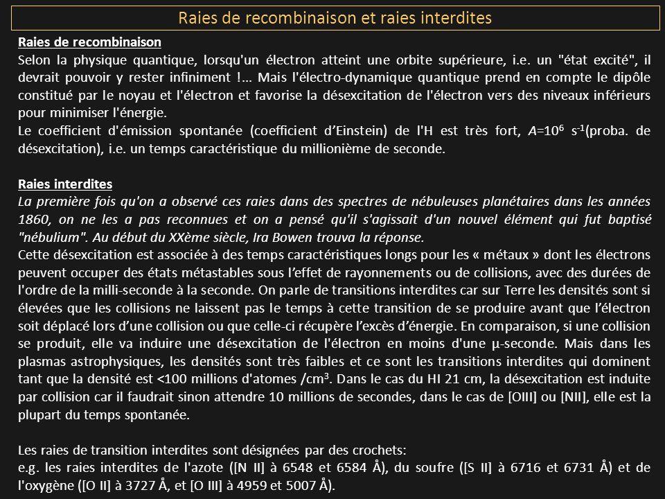 Raies de recombinaison et raies interdites
