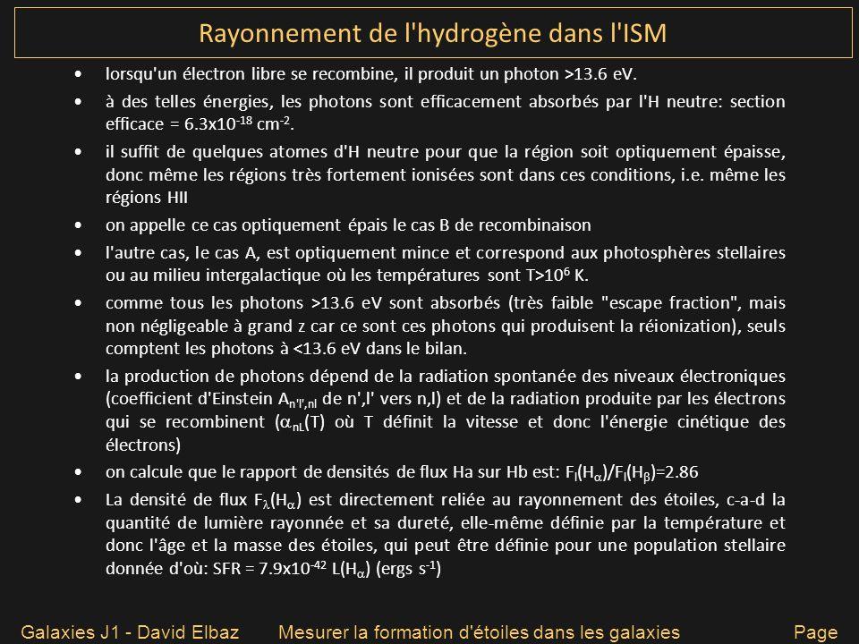 Rayonnement de l hydrogène dans l ISM