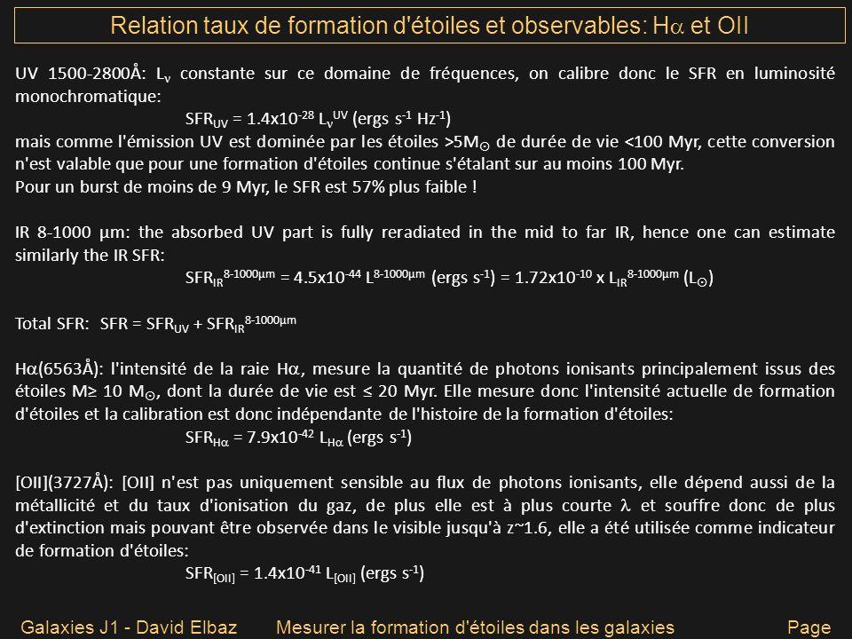 Relation taux de formation d étoiles et observables: H et OII