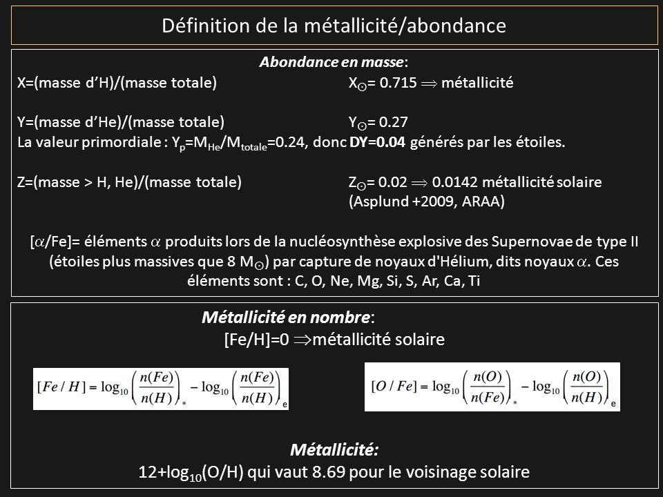 Définition de la métallicité/abondance