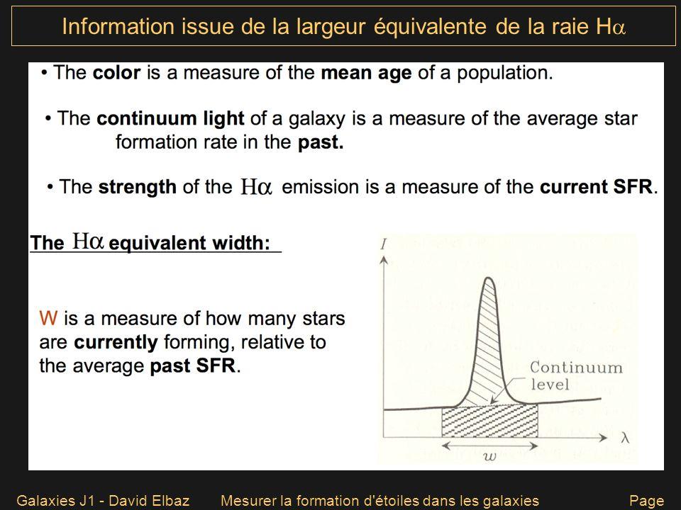 Information issue de la largeur équivalente de la raie H