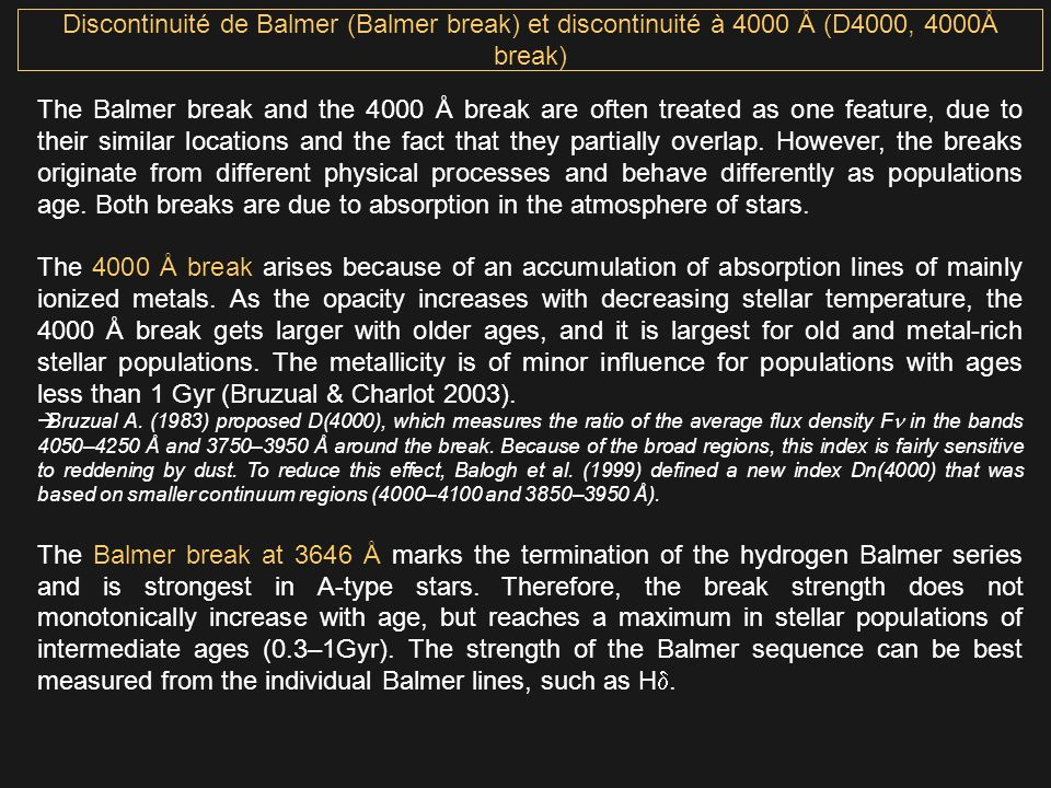 Discontinuité de Balmer (Balmer break) et discontinuité à 4000 Å (D4000, 4000Å break)