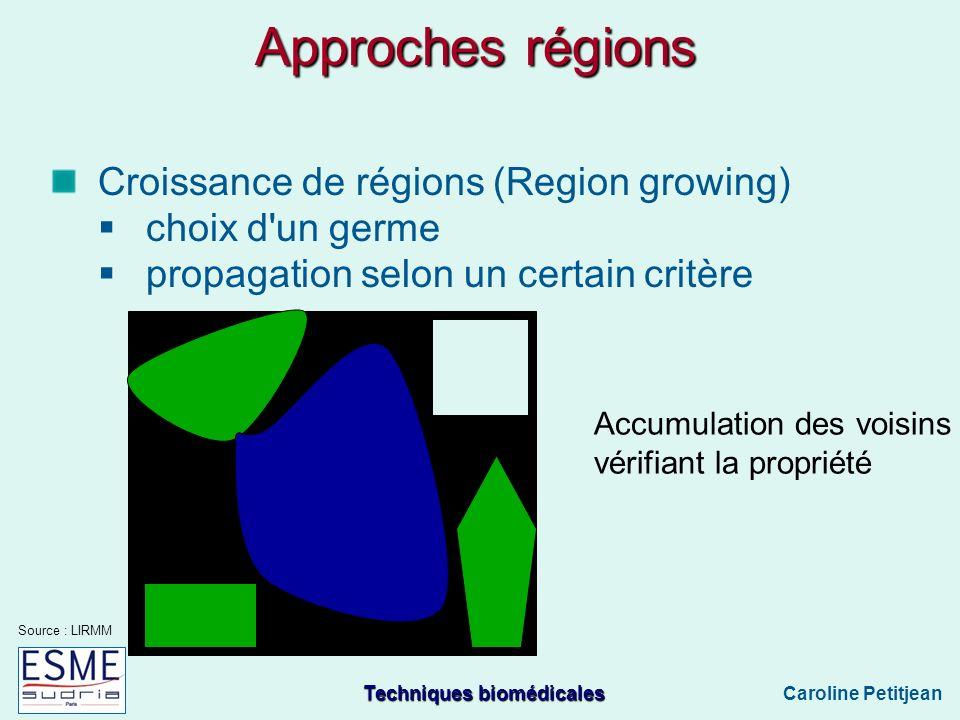 Approches régions Croissance de régions (Region growing)
