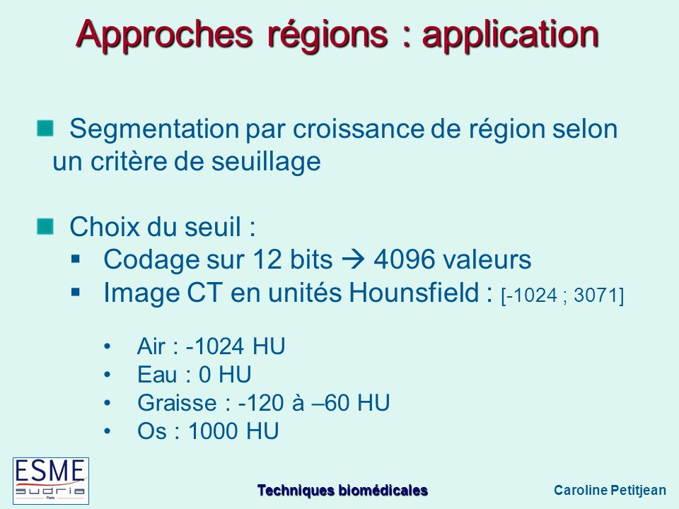 Approches régions : application